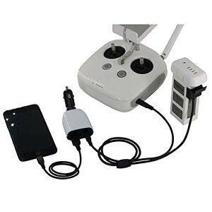 Kiowon DJI Phantom 3シリーズ対応 車用 充電器 バッテリー充電ハブ 予備バッテリー+送信機+スマホ/タブレット 同時に充電可能 デジタル表示 急速充電 DJI ファントム 3ドローンアクセサリー