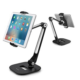 AboveTEK スタイリッシュな アルミニウム iPad タブレットホルダー 携帯スタンド, 折りたたみ式 360°回転式 iPad iPhone デスクマウント ホルダーは、キッチン用の 4-11インチ タブレット/スマートフォンに適