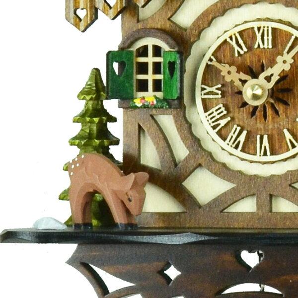 【送料無料】ドイツ製鳩時計クォーツ式【森の時計】バンビの山小屋鳩時計413QM【楽ギフ_包装】
