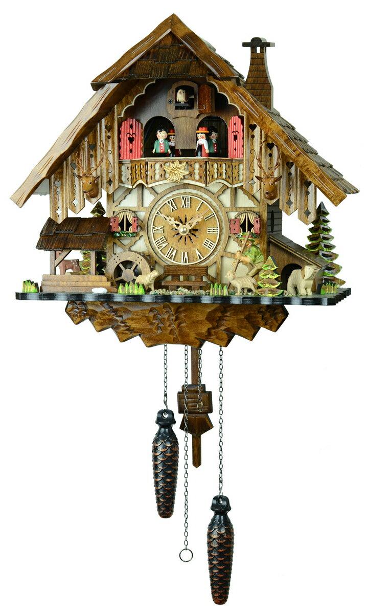 鳩時計 壁掛け時計 ハト時計 はと時計 ポッポ時計クォーツ式 山小屋モデル 48712QMT羊飼いのからくり時計【ENGSTLER鳩時計ムーブメント】【楽ギフ_包装】 10P09Jul16