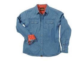 バイク用品 ウェア トレーナー&Tシャツ&シャツヘンリービギンズ HENLY B NHB1502デニムシャツ ライトブルー #M93151 4909449478240取寄品 セール