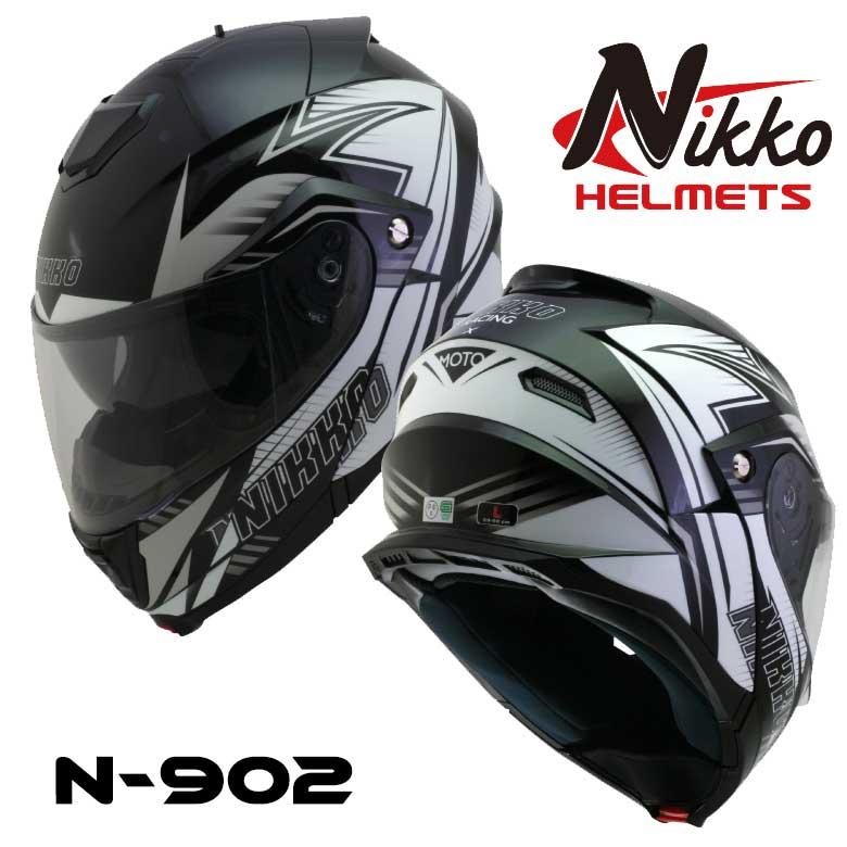 NIKKO HELMET N-902 ホワイト/グローグリーン システムヘルメット  バイク 蓄光 光る ヘルメット 防寒 カッコいい オシャレ