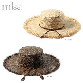 milsa ラフィア カンカン帽 キャノチェ ボーター カンカンハット ストローハット 麦わら帽子 つば広ハット つば広帽子 大つば ロングブリム 紫外線対策 UVケア 日よけ 夏フェス 野外 ライブ レディース 女性 RAFFIA LONG BRIM BOATER 春夏 ミルサ 186-361254 帽子