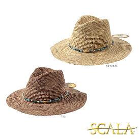 ≪SALE≫送料無料 SCALA ラフィア 中折れハット アメリカ ラフィアハット ストローハット ウエスタンハット テンガロンハット つば広ハット つば広帽子 麦わら帽子 紫外線対策 UVケア 日よけ ビーズ付き レディース 女性 春夏 DORFMAN PACIFIC スカラ LR648 帽子 セール