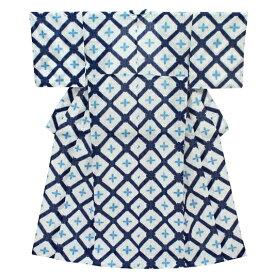 在庫処分 浴衣 レディース フリーサイズ 白地 紺色 水色 有松鳴海絞 板締め絞り 雪花絞り風 格子 花柄 夏祭り 花火大会 和柄 清楚 シンプル シック エレガント 可愛い 大人可愛い 大人 オシャレ Mサイズ No.3-0032