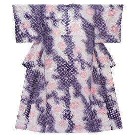 在庫処分 浴衣 レディース フリーサイズ 藤色 紫色 ピンク 有松鳴海絞り 板締め絞り 雪花絞り風 朝顔 夏祭り 花火大会 和柄 清楚 シンプル シック エレガント 可愛い 大人可愛い 大人 オシャレ Lサイズ No.3-0037