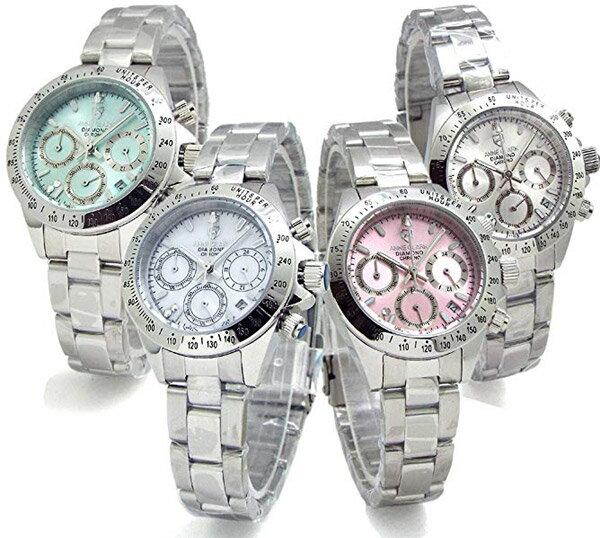 限定品 アンクラーク ハッピーミニクロノグラフ ANNE CLARK U.S.A レディース 腕時計 天然ダイヤモンド スワロフスキー ピンク ミント ホワイト シルバー 送料無料