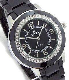 [クーポンでさらに777円割引] レディース 腕時計 セラミック EYKI クールブラック文字盤 ブラック シルバー BLACK エレガントライン 送料無料