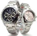 ペアウォッチ ペア腕時計 Don Clark ANNE CLARK メンズ腕時計 レディース腕時計 2本セット クロノグラフ 10気圧防水 天然ダイヤモンド ブラック ピンク ダンクラーク アンクラー