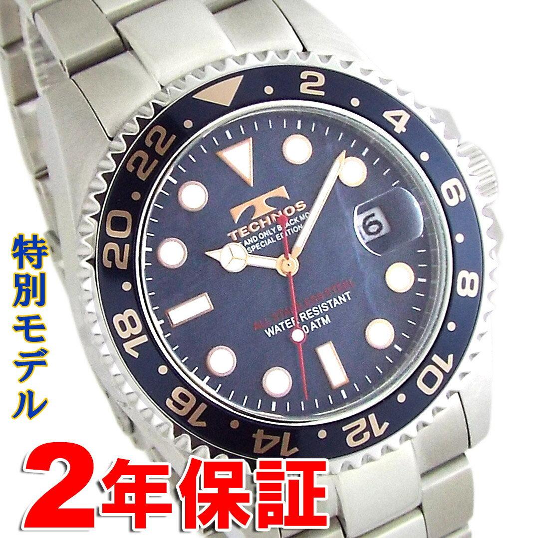 TECHNOS SPECIAL EDITION テクノス 特別モデル メンズ ダイバーズウォッチ ブラックネイビー天然シェル 腕時計 バンド調節工具付属 T4680SH 送料無料 [あす楽対応]