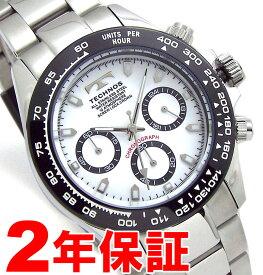 [ポイントアップキャンペーン実施中] TECHNOS テクノス メンズ クロノグラフ ブラック ホワイト 腕時計 バンド調節工具付属 TSM411TW