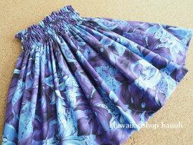 【送料無料】パウスカート 子ども 【428】グラデーション リリー柄 パープル 紫 ハワイ ハワイアンファブリック  子供 こども ケイキ フラ フラダンス スカート 衣装♪