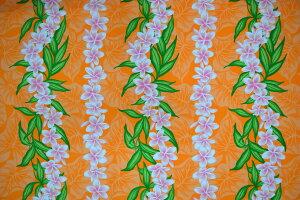 【4ヤードまでネコポス対応商品】KuKui ハワイアンファブリック HF-B2171 ハワイ 直輸入 ポリコットン オレンジ プルメリア パウスカート 生地