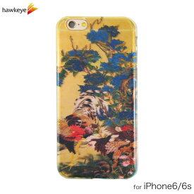 iPhone6/iPhone6s用 紫陽花双鶏図 クリアソフトケース[iPhone/カバー/紫陽花双鶏図/鶏/ニワトリ/鳥/花鳥風月/伊藤若冲/動植綵絵/花/名作/傑作/和風/和柄/伝統的/日本画/お土産/海外/ギフト/4.7インチ/TPU]