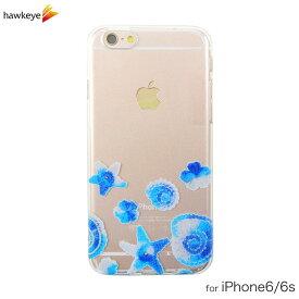 iPhone6/6s用 ニットの貝殻柄 シェル クリアソフトケース[iPhone/カバー/アイフォン/透明/海/貝/花/編み物/かぎ編み/夏/シェル柄/マリン/シンプル/4.7インチ/TPU]