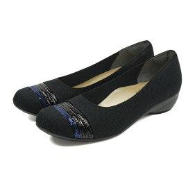 【送料無料】FIRSTCONTACT日本製キラキラスパンコールパンプス痛くない脱げないローヒール走れる可愛いパンプスレディース歩きやすいコンフォートシューズレディースおしゃれパンプス黒フォーマルカジュアルパンプス靴109-39767