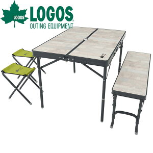 ロゴス LOGOS ROSY ファミリーベンチテーブルセット テーブル 折りたたみ 4人用 軽量 椅子付き 折り畳みテーブル ピクニックテーブル アウトドアテーブル パラソルホール付き おしゃれ 人気 ア