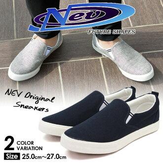 画布易穿式运动鞋男装海军灰色低切休闲鞋说戈尔 nev-1046