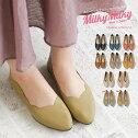 milkymilky日本製軽量かかとが踏めるカジュアルシューズレディース歩きやすいバブーシュレディースブラックぺたんこパンプススカラップローヒールぺたんこ靴ピンクマスタードネイビーブラウンベージュ23402