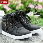 【送料無料】EDWIN軽量ハイカットスニーカーキッズ女の子子供靴ハイカットキッズ白ジュニアスニーカーハイカット小学生女の子スニーカーサイドジップ歩きやすい履きやすい軽いおしゃれかわいいインヒール黒3505