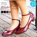 【送料無料】Bakerloo日本製防水パンプス痛くない柔らかい歩きやすいストレッチ脱げないエナメルパンプスローヒール太ヒールレインパンプスストラップ晴雨兼用外反母趾靴おしゃれレディース黒ブラックr7602