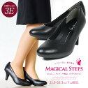 【送料無料】MAGICALSTEPSパンプス痛くない幅広3E外反母趾パンプスハイヒール歩きやすい美脚リクルートパンプス黒ラウンドトゥフォーマル就活靴オフィスビジネス履きやすい小さいサイズ大きいサイズ7030