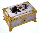 BOX型アンチモニーオルゴール(押し花)ホワイト「曲目:星に願いを」