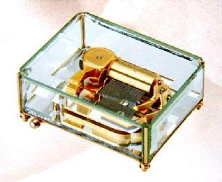 〔クリスタル〕高級オルゴール『30弁オルフェウス』5mm厚透明ガラス8面取り EX121
