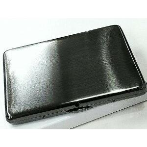 シガレットケース ブラックサテン タバコケース ロング 薄型 潰れない たばこケース シンプル ハードケース 真鍮製 黒