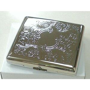シガレットケース シルバーアラベスク 20本収納 タバコケース ハードケース 両面 綺麗 つぶれない 煙草入れ メンズ レディース 銀鏡面