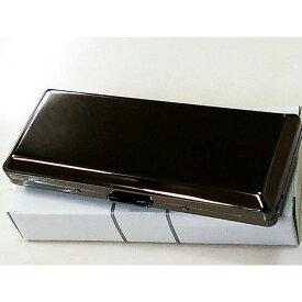 シガレットケース 超コンパクト 黒ニッケル プレーン ロングサイズ対応 ハードケース 10本収納 タバコケース メンズ/レディース 綺麗な煙草入れ