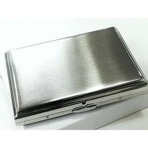 シガレットケース シルバーサテン 真鍮製 タバコケース ハードケース 16本 シンプル 収納 メンズ プレゼント 潰れない 坪田パール社製