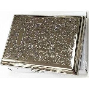 シガレットケース シルバーアラベスク 真鍮製 繊細彫刻 16本収納 タバコケース メンズ レディース