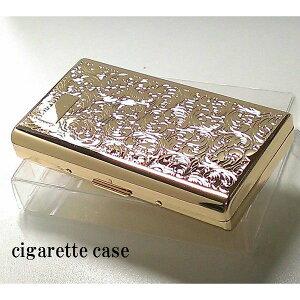 シガレットケース ロング レディース ゴールド アラベスク コンパクト タバコケース 可愛い 金 14本 坪田パール社製 たばこケース 頑丈 節煙 動画有り