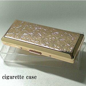 タバコケース レディース 超コンパクト シガレットケース 10本 ロング ゴールド アラベスク 潰れない 金 たばこケース おしゃれ 動画あり ギフト