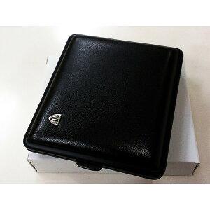 タバコケース ドイツSTOLL社製 シガレットケース ブラックレザー&ブラックフレーム 黒 18本収納 おしゃれ メンズ プレゼント ギフト