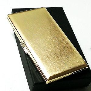 シガレットケース 100mm タバコケース リリースリム ゴールドサテン ロングサイズ対応 薄型モデル メンズ 日本製 真鍮製 かっこいい おしゃれ プレゼント ギフト 動画あり