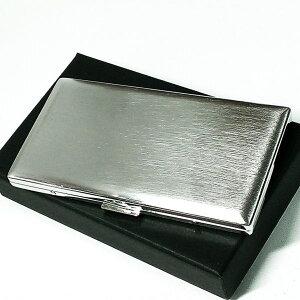 タバコケース 100mm ロング リリースリム シルバーサテン シガレットケース 潰れない たばこケース 薄型 日本製 坪田パール 真鍮製 かっこいい ギフト プレゼント