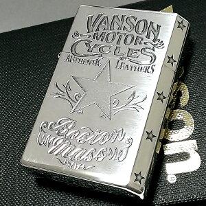 オイルライター バンソン×ギアトップ 日本製 ライター ブランド シルバーイブシ スター 重厚 かっこいい おしゃれ GEAR TOP×VANSON 国産品 メンズ ギフト
