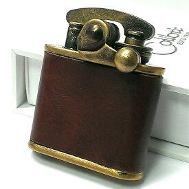 オイルライター Colibri コリブリ 本革巻き 茶 ブラウン アンティークゴールド レトロ ブラスバレル フリント ライター かっこいい ブランド おしゃれ ギフト