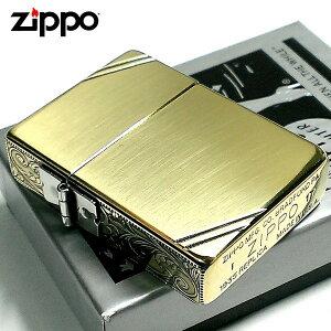 ZIPPO ライター ジッポ 1935 復刻レプリカ ゴールド アンティークブラス 3面アラベスク ダイアゴナルライン 3バレル 唐草 彫刻 アンティーク 角型 動画有り メンズ ギフト Xmas プレゼント