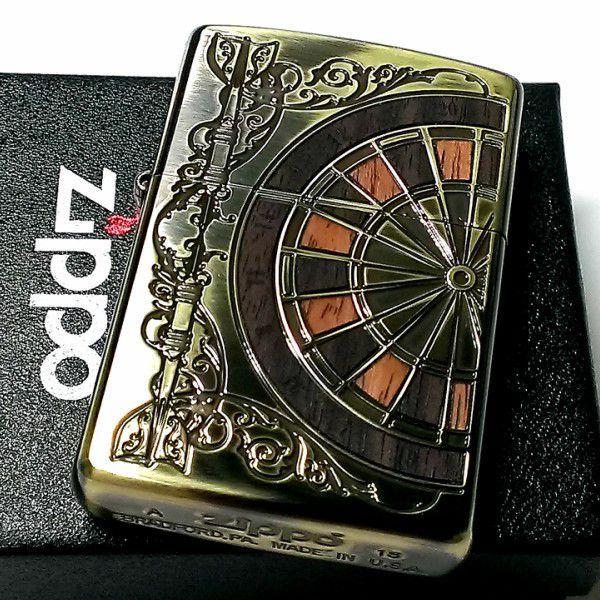 ZIPPO ライター ジッポ アンティーク ダーツ 両面加工 ウッドインレイ 彫刻 木象嵌 真鍮イブシ ブラス ゴールド かっこいい メンズ プレゼント ギフト
