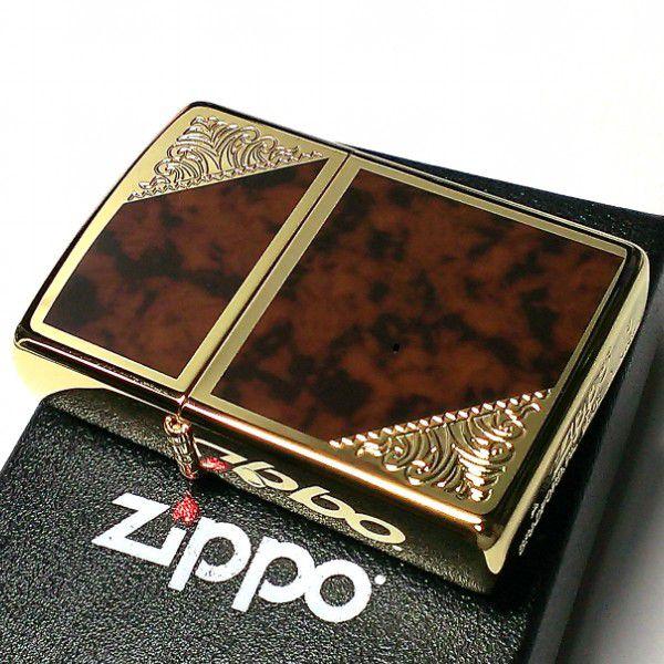ZIPPO ライター ジッポ ゴールド&ブラウン クラシック アラベスク 両面加工 鼈甲マーブル柄 金タンク かっこいい メンズ ギフト プレゼント