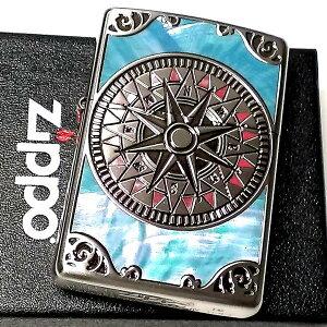 ZIPPO ライター シェル アンティークコンパス 両面加工 シルバーイブシ 天然貝象嵌 かっこいい ジッポ おしゃれ メンズ レディース ギフト