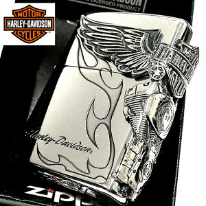 ZIPPO ライター ハーレーダビッドソン ジッポ シルバー燻し 大型3面メタル 彫刻 かっこいい 日本限定モデル おしゃれ ウィング 動画あり メンズ ギフト プレゼント