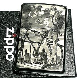 ZIPPO エヴァンゲリオン アスカ/自転車 ジッポ ライター 限定 シリアル入り ブラックチタンコート かっこいい 黒 レーザー彫刻 アニメ メンズ レディース ギフト プレゼント 動画あり