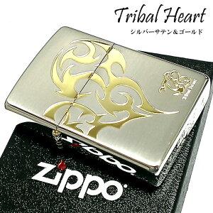 ZIPPO ライター トライバルハート ジッポ かっこいい シルバー&ゴールド 金銀 可愛い メンズ レディース おしゃれ ギフト プレゼント 動画有り