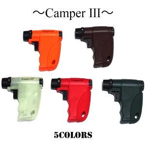 ガスライター キャンパー 5カラー ブラック オレンジ 蓄光 レッド バーガンディ 面白 ライター 珍しい 日本製 バーナーフレーム ガンタイプ アウトドア キャンプ かっこいい メンズ ギフト