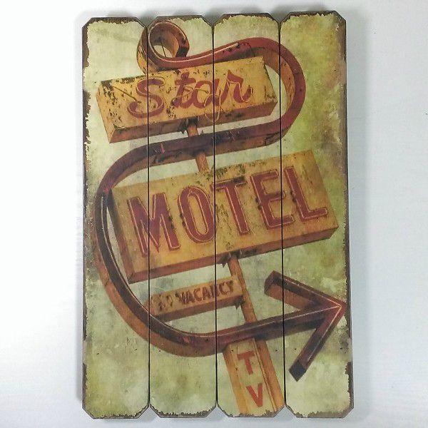 アメリカン看板 ウッデンウォールデコ 木製 看板 モーテル MOTEL C ウッド インテリア 壁掛け バー ホテル アンティーク