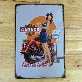 アメリカン ブリキ看板 バイク セクシー GARAGE GIRL ガレージ プレート かわいい 壁飾り ビンテージ 雑貨 インテリア 可愛い サーファー カフェ 店舗